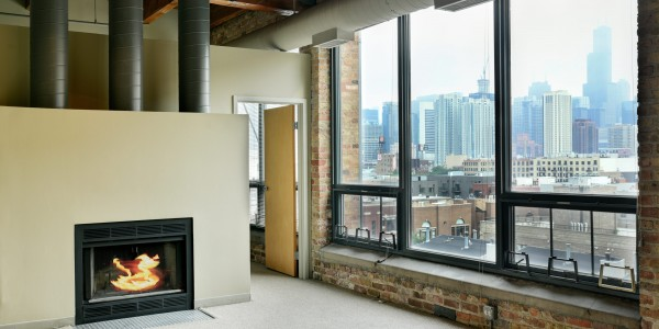 Unit 616 Living Room Fireplace